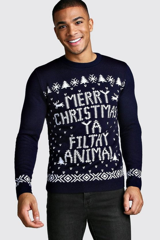 Mens Navy Merry Christmas Ya Filthy Animal Jumper
