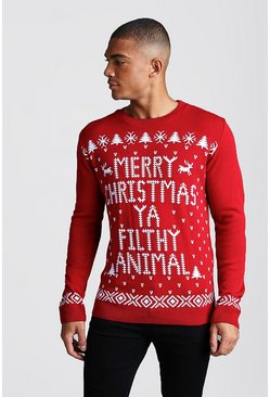 Red Merry Christmas Ya Filthy Animal Jumper