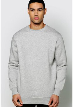 Mens Grey Lightweight Basic Crew Neck Sweatshirt