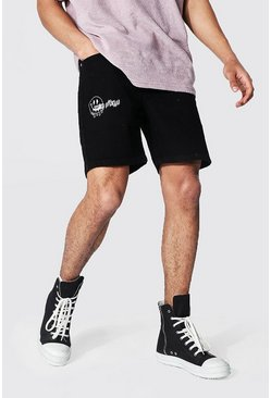 True black Slim Rigid Drip Face Denim Short