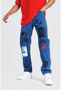 Mid blue Relaxed Fit Graphic Printed Jean