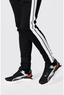 Black Colourblock Mesh And Pu Runner