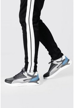 Charcoal Colourblock Mesh And Pu Runner