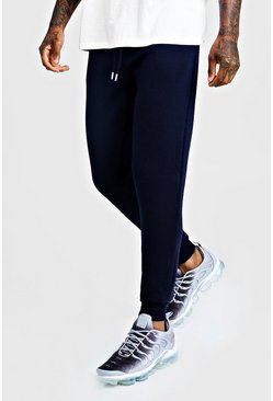 Mens Navy Basic Skinny Fit Joggers