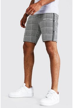 Black Skinny Man Official Tape Jacquard Shorts