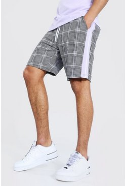 Lilac Check Jacquard Tape Detail Mid Length Short