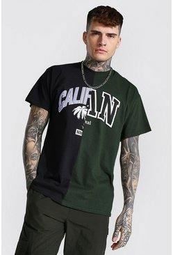 Black Oversized Cali Man Spliced T-shirt