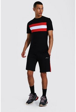 Tall - T-shirt color block ajusté et short, Black