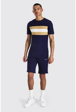 Tall - T-shirt color block ajusté et short, Navy