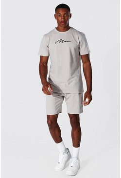 Stone Man Signature Jacquard Stripe T-shirt & Short