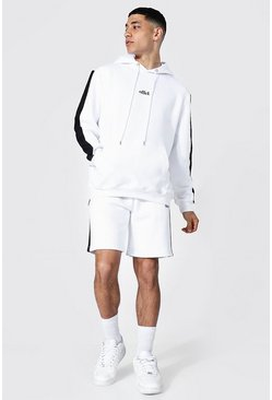 White Offcl Side Panel Short Hooded Tracksuit