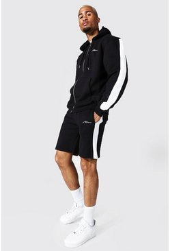 Black Man Signature Zip Hooded Short Tracksuit