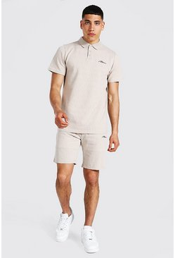 Stone Man Signature Jacquard Stripe Polo & Short