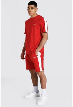 Red Man Signature Side Panel T-shirt & Short Set