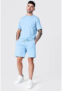 Pastel blue Man Signature Side Panel T-shirt & Short Set