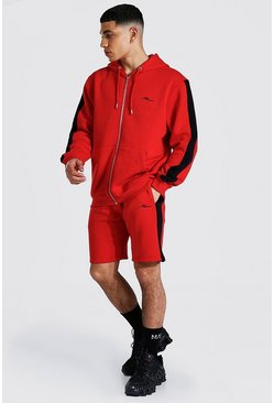 Red Man Signature Zip Hooded Short Tracksuit