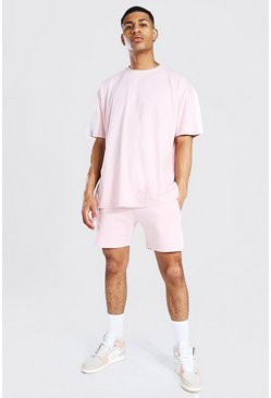 Pastel pink Oversized Man Side Panel T-shirt & Short Set