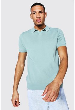 Tall Short Sleeve Revere Collar Knitted Polo, Sage