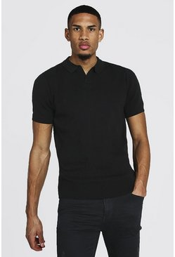 Black Tall Short Sleeve Revere Collar Knitted Polo