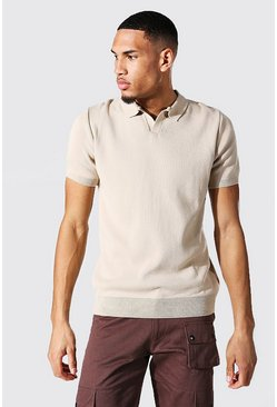 Tall Short Sleeve Revere Collar Knitted Polo, Stone