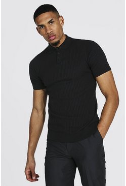 Black Tall Short Sleeve Knitted Polo