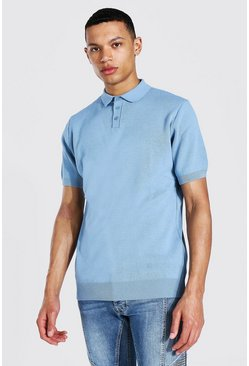 Dusty blue Tall Short Sleeve Knitted Polo
