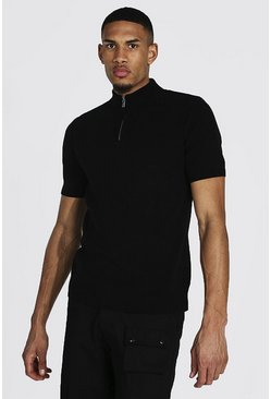 Black Tall Short Sleeve Half Zip Turtle Neck Sweater