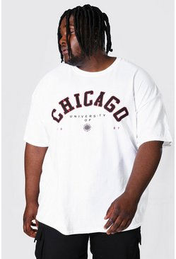 Plus Size Chicago Varsity Print T-shirt, White