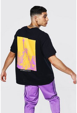 Black Oversized Manhattan Back Print T-Shirt