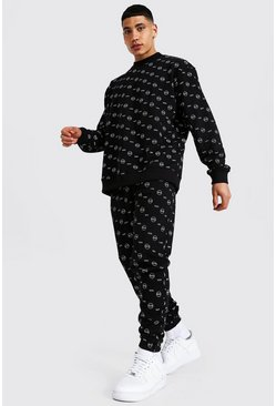 Black Oversized All Over Man Sweater Tracksuit
