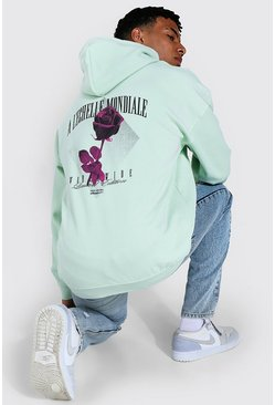 Light green Oversized Floral Back Print Hoodie