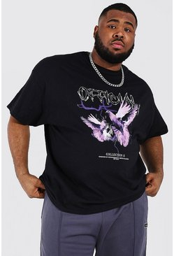 Black Plus Size Gothic Dove Graphic T-Shirt