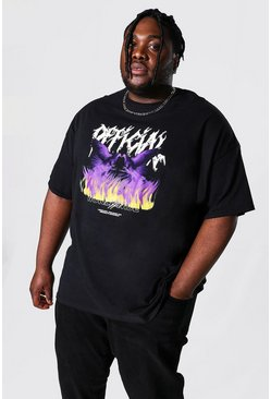 Black Plus Size Official Dove Flames T-shirt