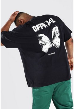 Plus Size Butterfly Back Print T-shirt, Black