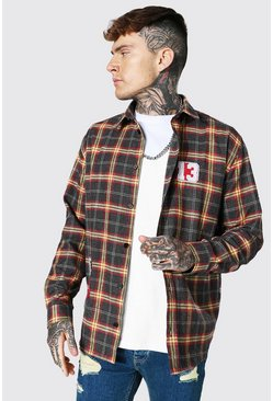 Black Oversized Varsity Check Shirt