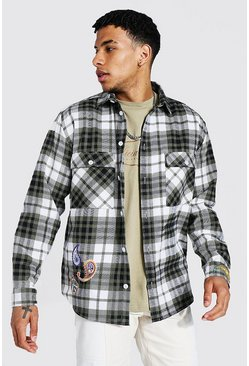 Sage Oversized Bandana Badge Check Shirt