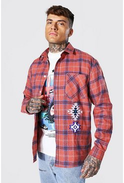 Orange Oversized Aztec Badge Check Shirt
