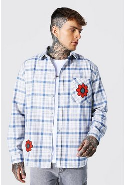 Blue Oversized Golf Flower Badge Check Shirt