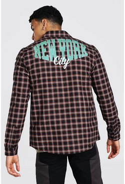 Orange New York Back Print Check Shirt