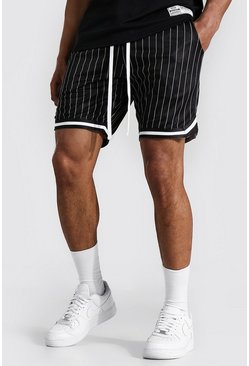 Black Airtex Pinstripe Basketball Shorts With Tape