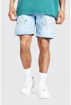 Ice blue Relaxed Fit Painted Denim Short