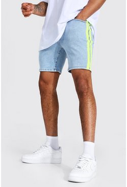 Ice blue Skinny Stretch Denim Short With Side Stripe