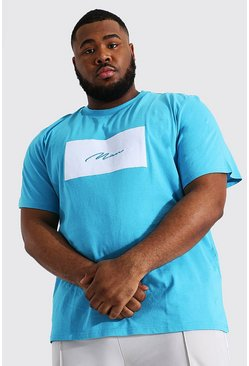 Blue Plus Size Man Script Velour Box Print T-shirt