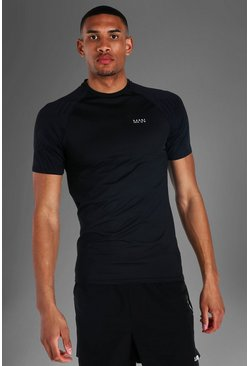 Black Tall Man Active Raglan Sleeve Muscle Fit Tee