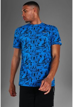 Blue Tall Man Active Abstract Print T-shirt