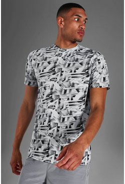 Grey Tall Man Active Abstract Print T-shirt