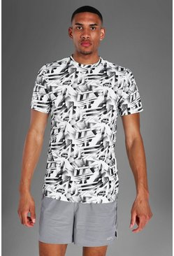 White Tall Man Active Abstract Print T-shirt