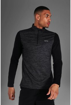 Black Tall Man Active Textured ¼ Zip Panelled Top