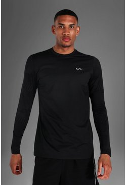 Black Tall Man Active Abstract Long Sleeve Top