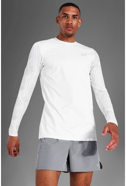 White Tall Man Active Abstract Long Sleeve Top